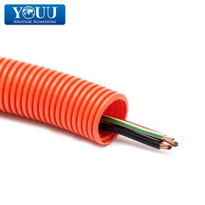 YOUU Waterproof Electrical Flexible Corrugated PVC Conduit Plastic Pipe 20mm Corrugated Conduit Heavy Duty Oran