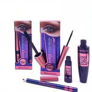 Hot Sale Waterproof Lasting Mascara+Liquid Eyeliner+Eyebrow Pen 3 in 1 High Quality Eye Beauty Makeup Set