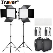 Travor hot selling L4500k 2 in 1 set metal panel camera photography fill lamp kit battery power led studio video light