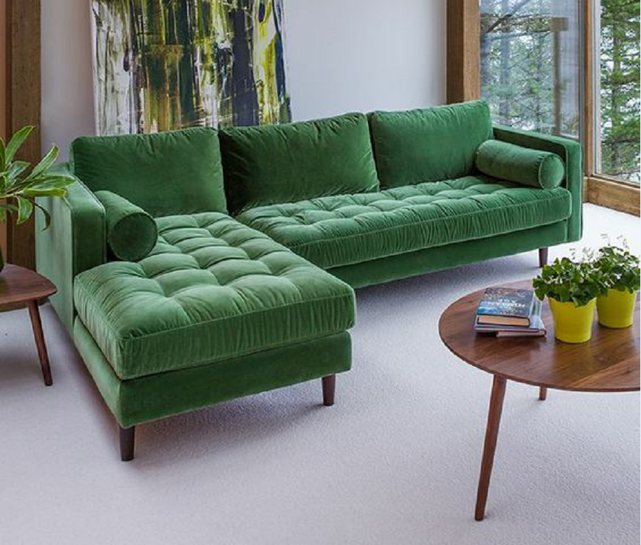 Contemporary Fabric Couch Left Chaise Lounge Facing Green Velvet Modern Sectional Sofa