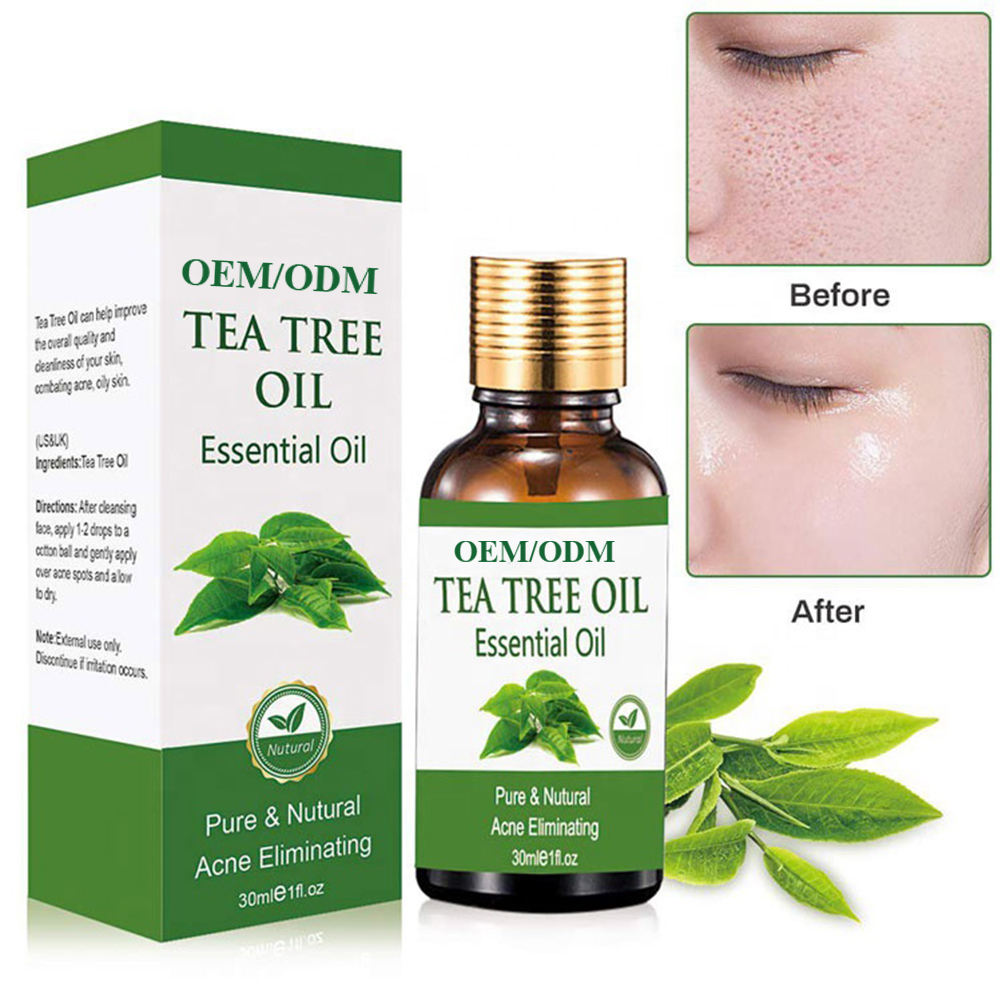 Private Label Organic Tea Tree Essential Oil Moisturizing Massage Oil Shrink Pores Repair Skin Care OEM