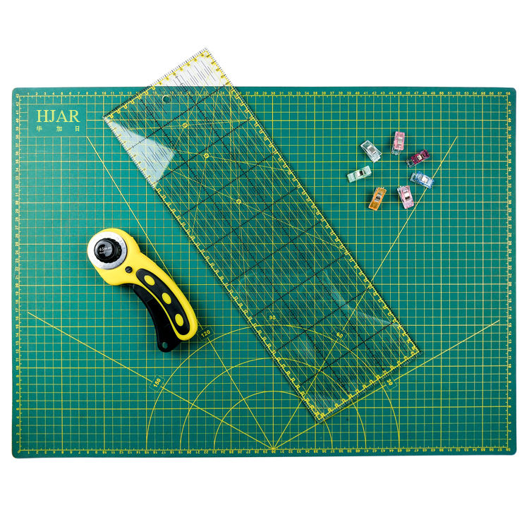 Quilting A2 Rotary Cutter Cutting Mat Set including 15X45cm Ruler A2 Cutting Mat, 45mm Rotary Cutter, 45mm Blades