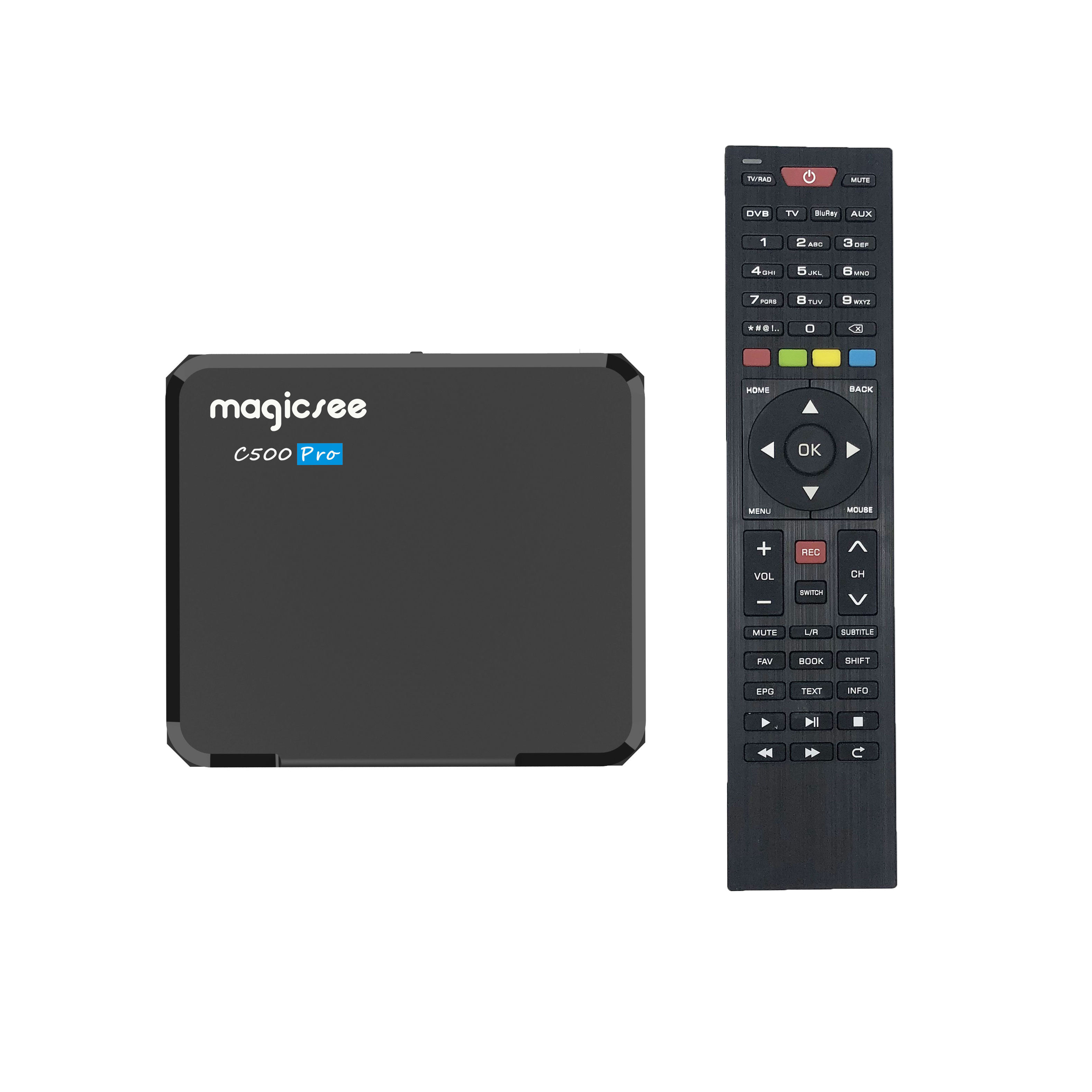 Magicsee c500 pro s905x3 android tv box digital satellite receiver DVB-S2X/S2 DVB T2 ATSC Android 4k tv dvb box