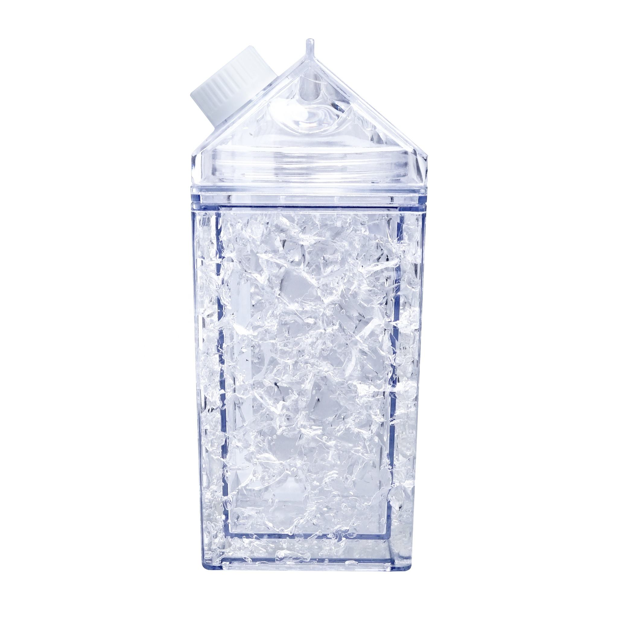 Wholesale Food Grade 380ml Custom Double wall square Plastic Straw Milk Carton Water Bottles with refrigerating fluid