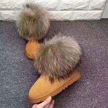 fashion winter women boots ladies fur snow boots round toe raccoon fur cow leather warm anti-slip fur boots