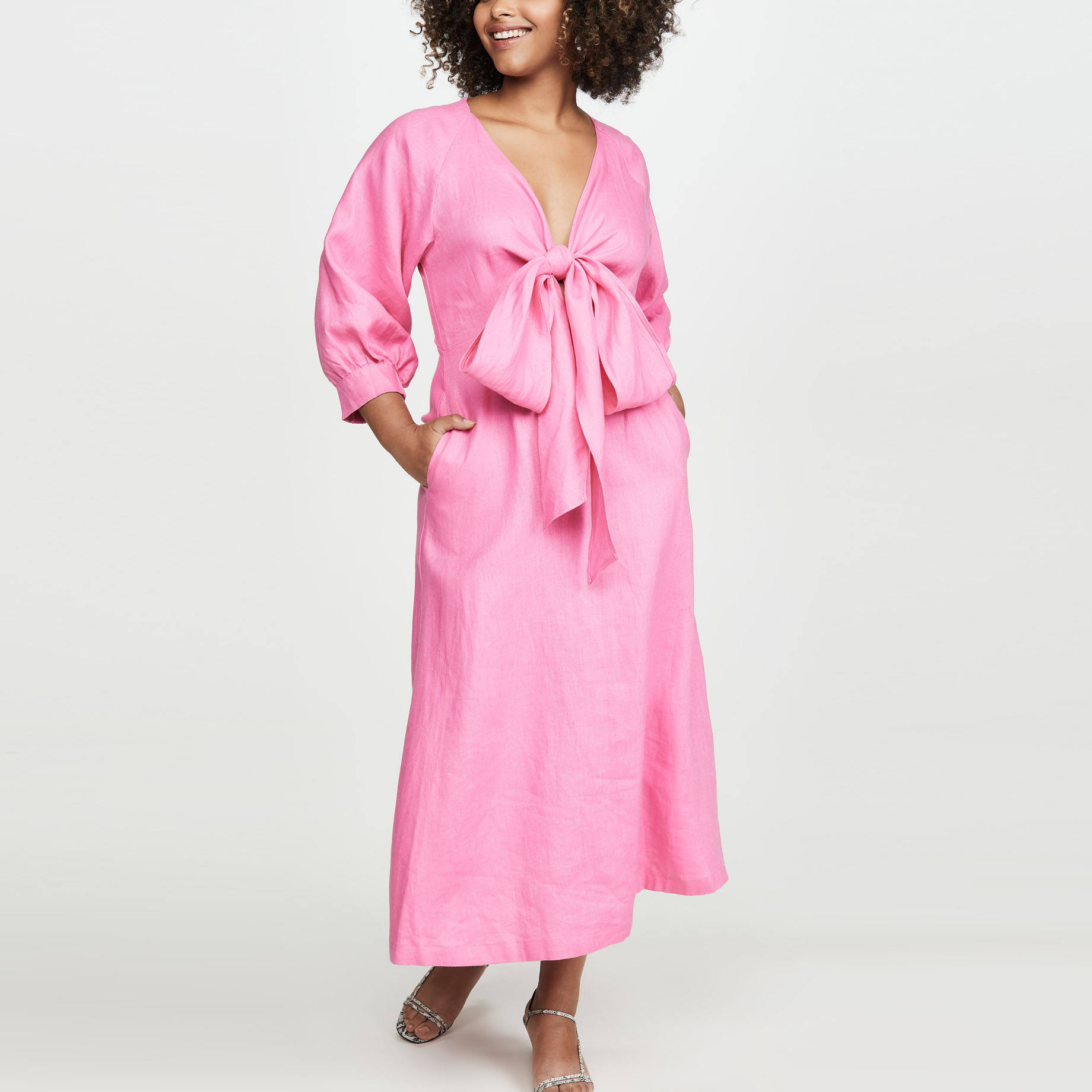 Pink Cute Linen Puff Sleeve Tie Cutout At Front Dress Ladies