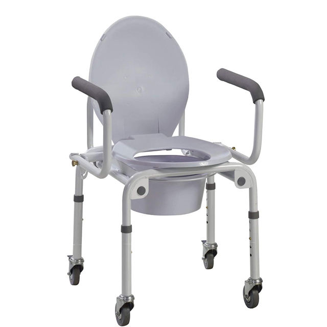 Bedside Lightweight Commode with Drop-Arm and Safety Frame