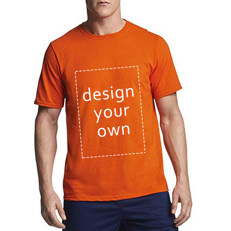 Custom Logo Orange Single Solid Color Printing Design Strength tshirt 100% Combed Cotton Tee Shirt Blank Plain Men T-Shirt