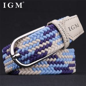 IGM royal blue woven stretch polypropylene nylon metal buckle belt