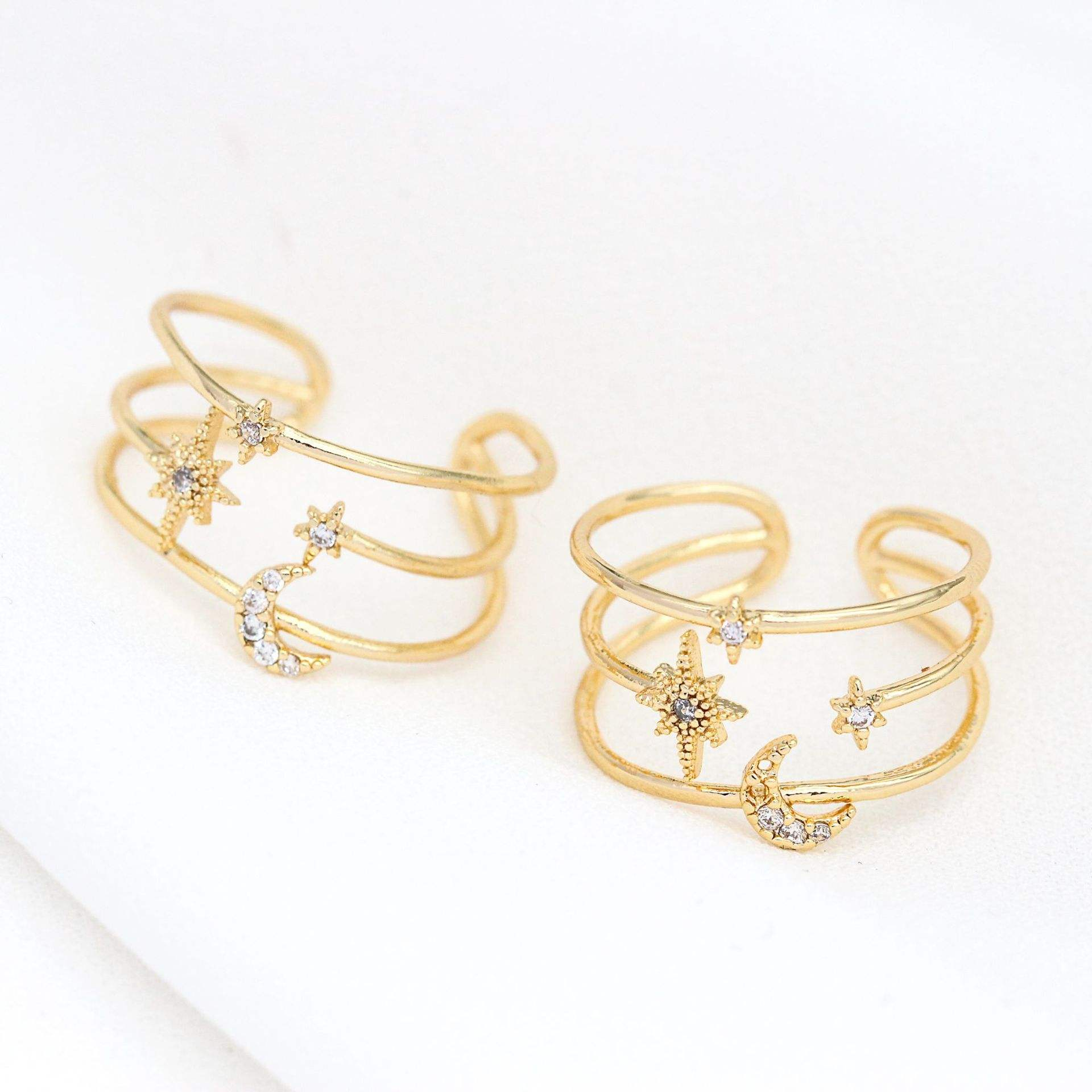 New Design Jewelry 14k Gold Plated Zircon Inlay Moon Star Round Shape Ring