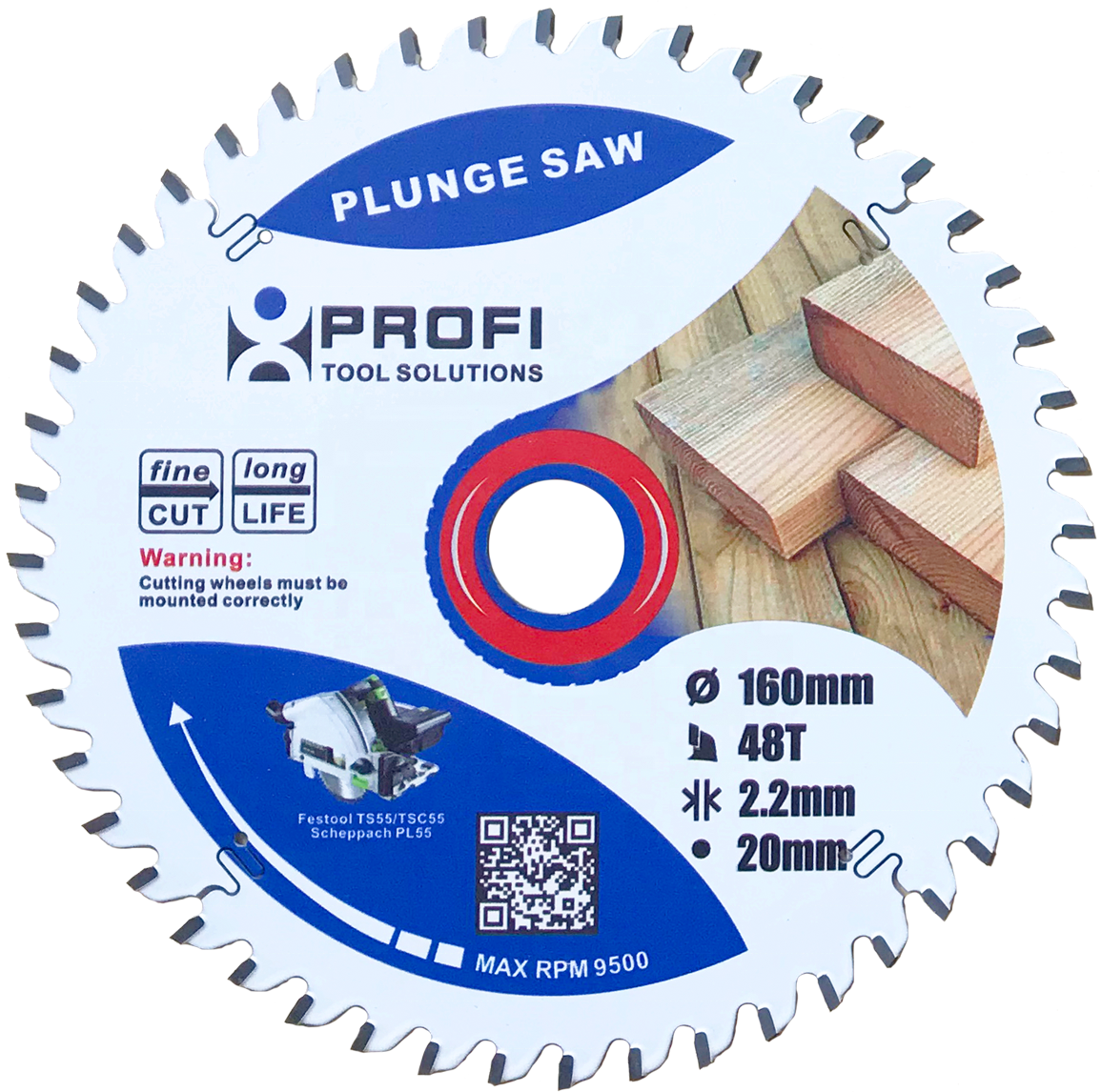 160mm Cross cutting plunge saw blade for Wood