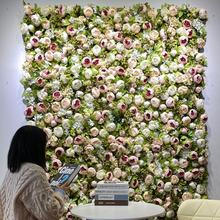 P-01 Customized 3D Roll Up Artificial Silk Peony and Rose Flower Wall Backdrop Panel Wedding Decoration Artificial Flower Wall
