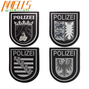 Germany Polizei Feuerwehr Rettungsdienst Bundeswehr Justiz Eagle Shield Tactical Morale Rubber Soft PVC Badge Hook Patch