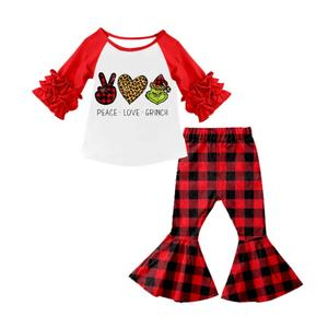New arrival kids clothing long sleeve ruffles baby girls' clothing sets for baby girl Christmas outfit