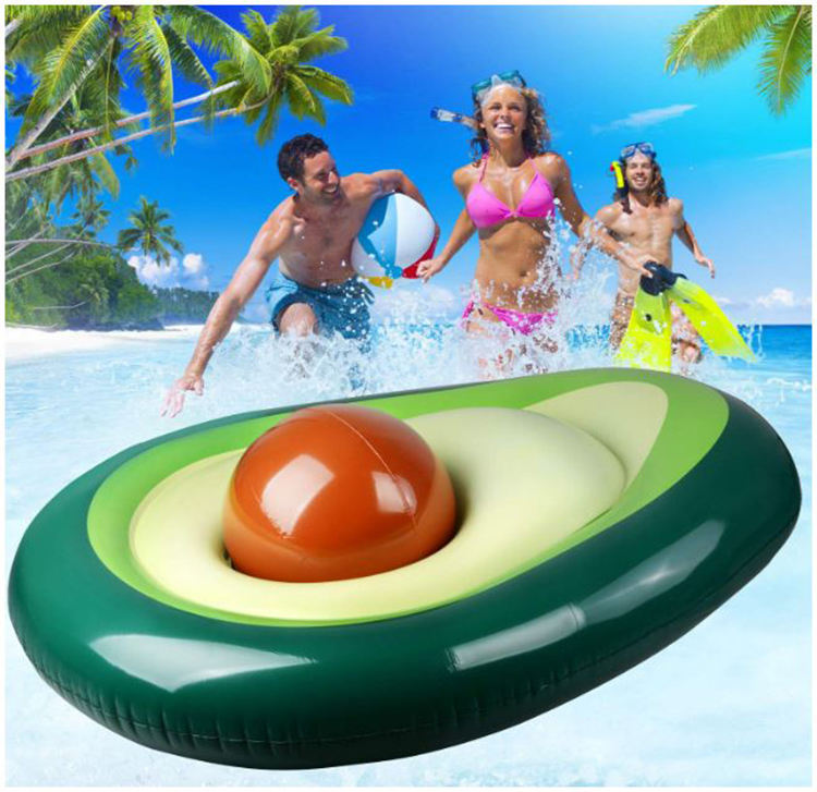 Huge Inflatable Avocado Pool Float with Ball Water Fun Large Blow Up Summer BeachToys Floating Bed Loungers for Adults