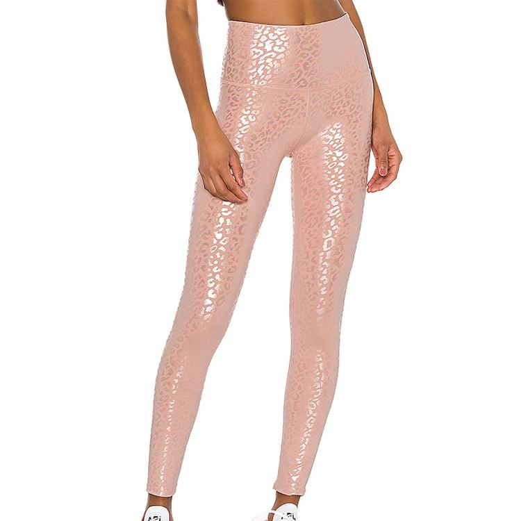 Workout compression leggings shiny tight legging glossy yoga pant leopard printing shiny gym leggings for women