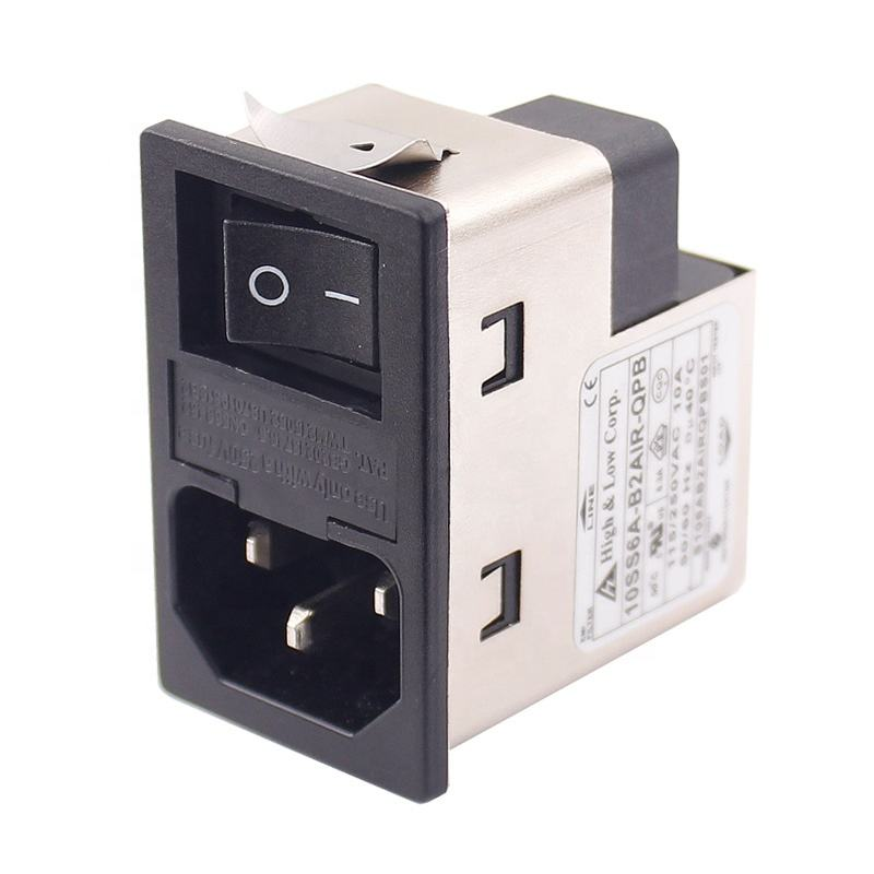 Power entry Module double IEC 320 C14 AC socket EMI EMC noise filter with boat switch with double fuse holder