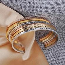 Fashion Simple Design Bangle Wholesale Custom Personalized Adjustable 316L Stainless Steel Engraved Inspirational Cuff Bracelet