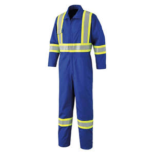 Factory Supply 100% Cotton Royal Blue X Back Reflective Safety Industrial Construction Work Coverall