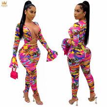 C1391 - women fashion long flare sleeve printed bandage bodycon jumpsuit