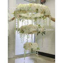 LFB347 Luxury custom made rose and hydrangea wedding flower chandelier for sale
