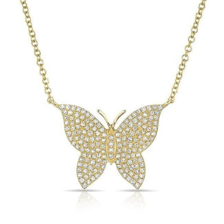 Hot selling 925 sterling silver cubic zirconia gold butterfly necklace