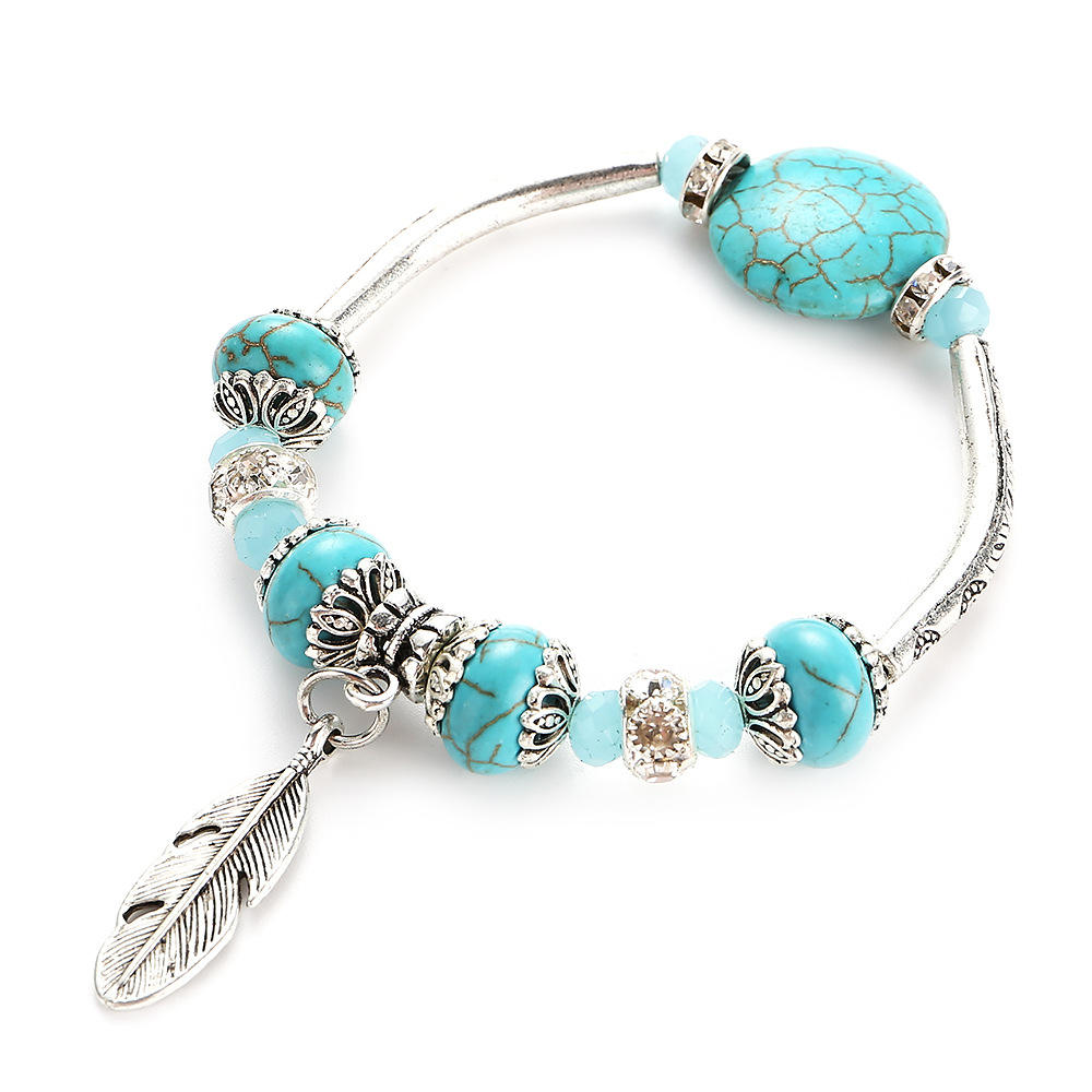 Minimalist 6mm Small Beads Bracelets Men Women Creative Angel Wings Feather Brazalete Natural Turquoises Stone Braslet