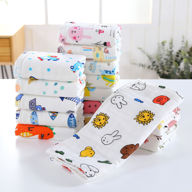 Amazon Hot sales INs 100% cotton muslin towel soft baby baby face towel hand towel