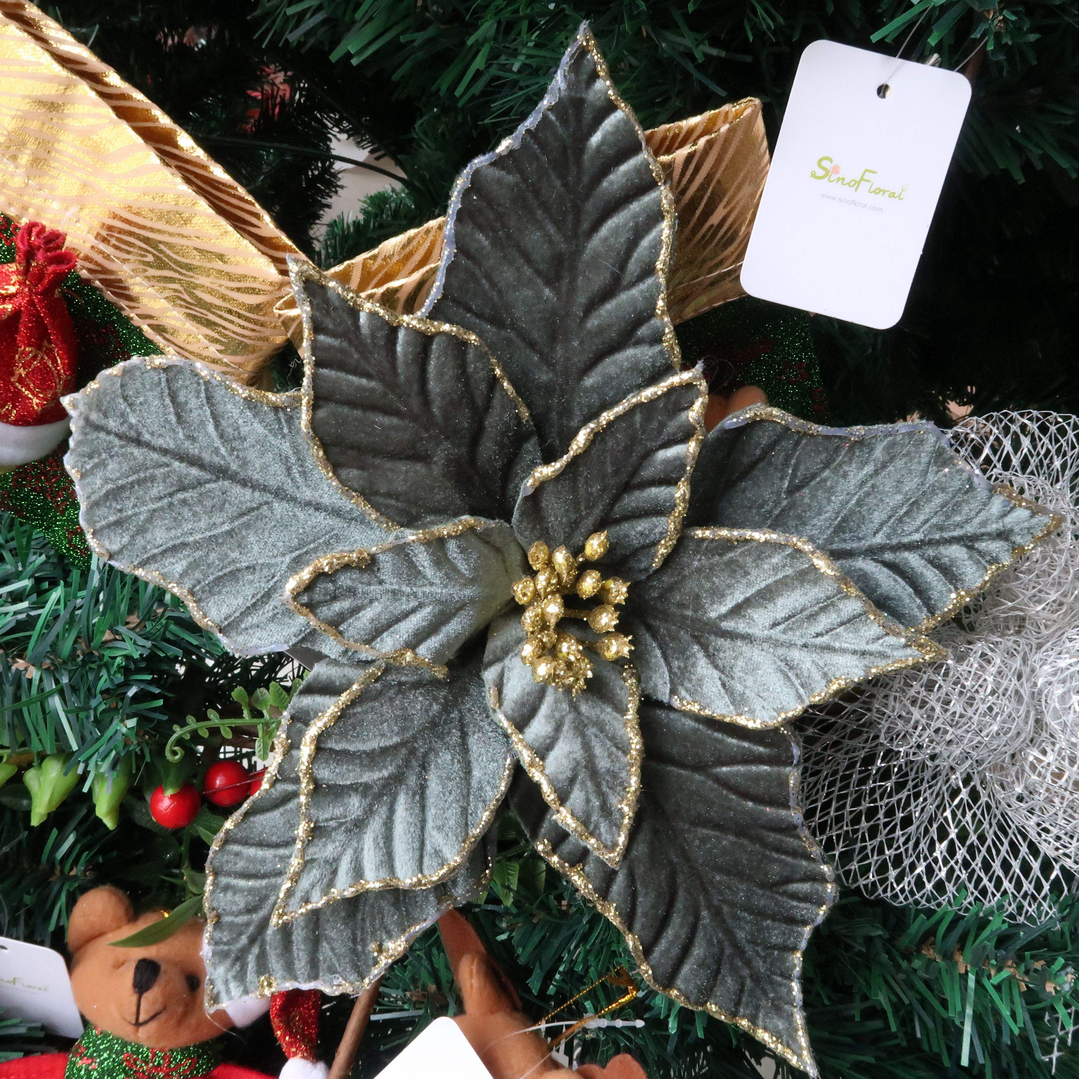Christmas poinsettia flower with glitter edge Sparkling Christmas flower Christmas tree decorations Wholesale #03045