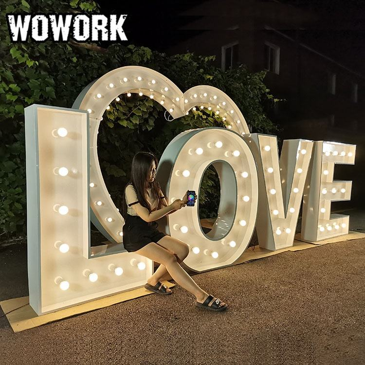 WOWORK high quality electronic signs 3D led outdoor light up letters love for wedding decoration