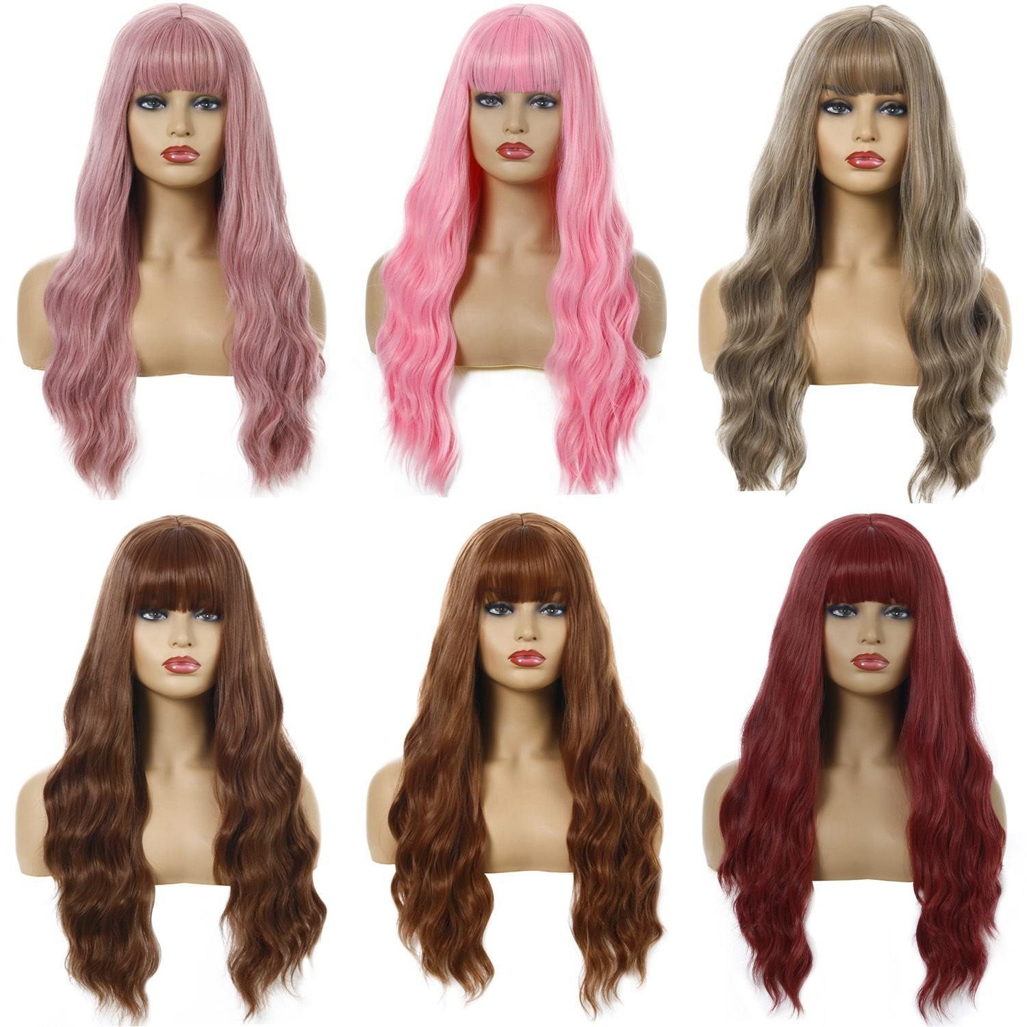 Ombre Wavy Wigs Black Brown Blonde Middle Part Cosplay Synthetic Wigs with Bangs For Women Long Hair Wigs