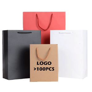 Custom logo Kraft Paper Gift Shopping Bags with Handles Party Favors Merchandise Bag