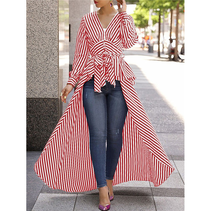 Womens Casual Striped Long Sleeve Front Open V-Neck Maxi Long Sun Dress