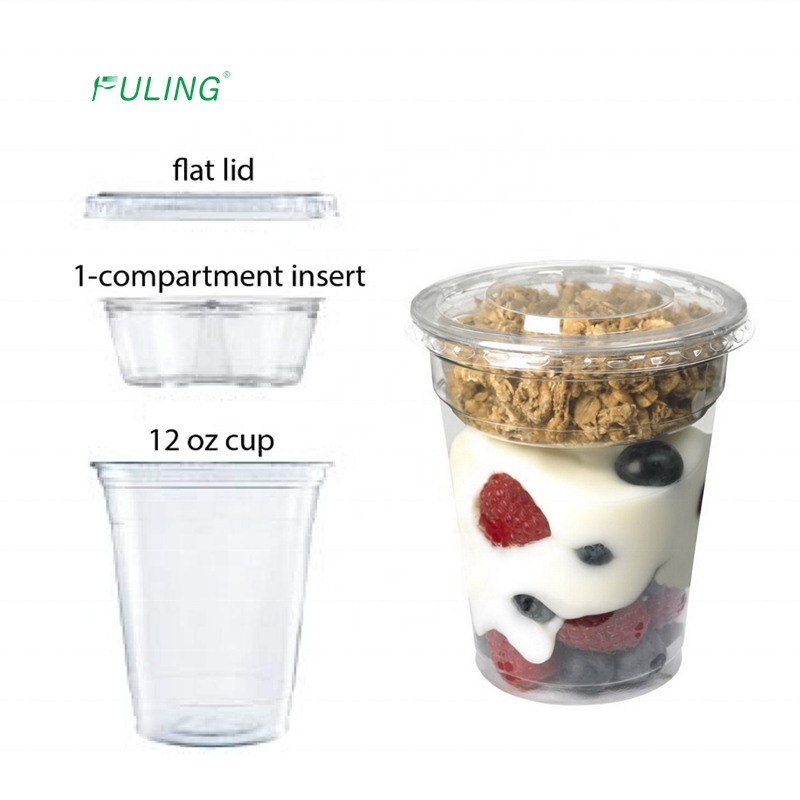 custom yogurt combo cups 9oz 12oz clear ice cream plastic parfait cups 9 12 oz with Insert and flat lids