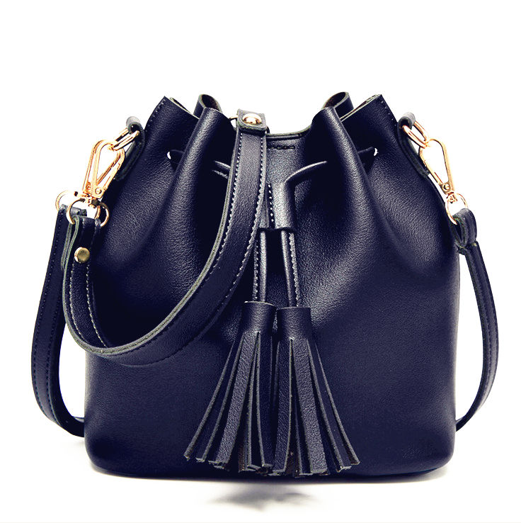 XL XXL Girls Wholesale Large Waterproof Custom Made Pu Leather Handbag Round Black Tassel Shoulder Bucket Bag