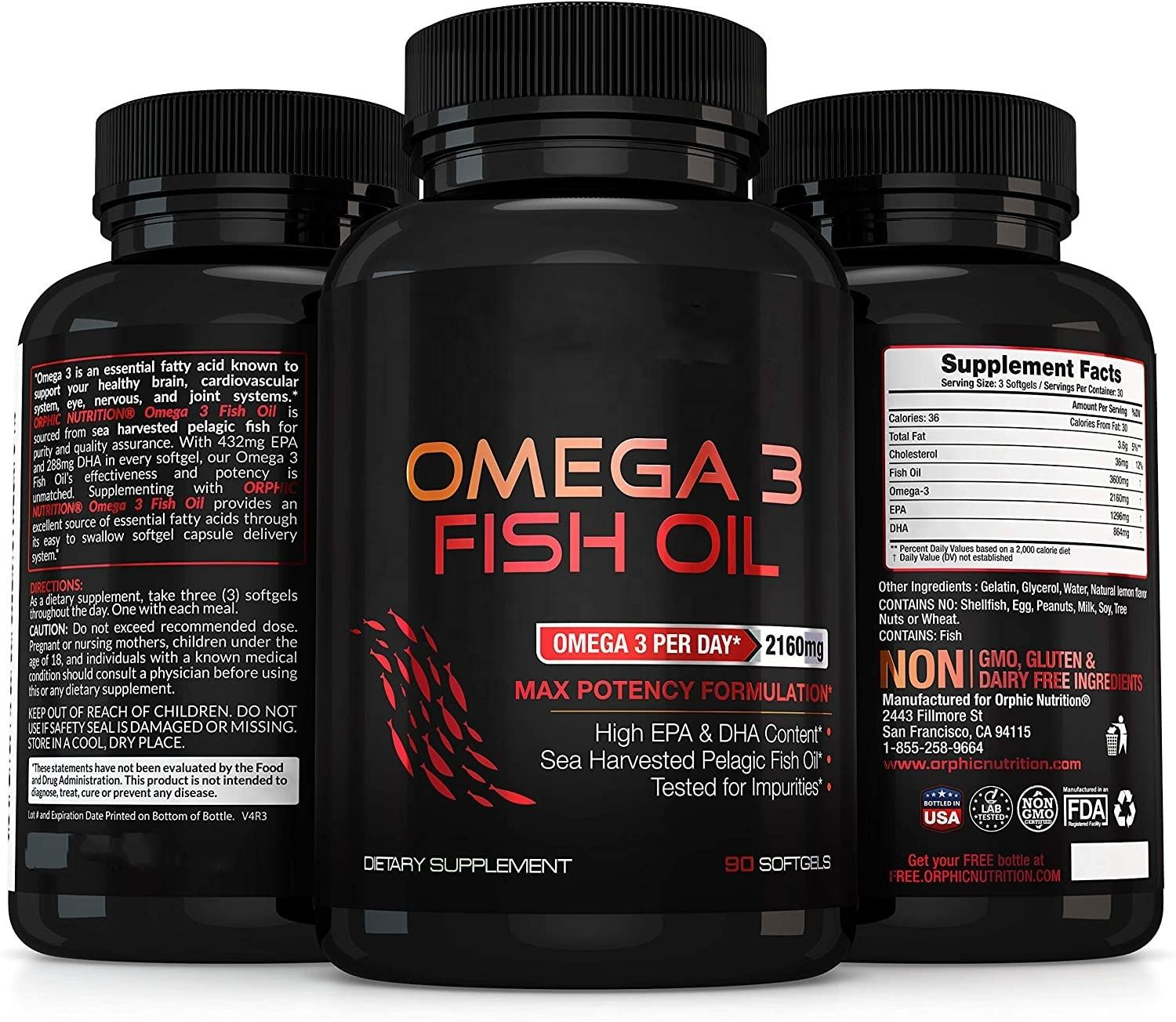 Omega 3 Fish Oil Supplements Max Potency Burpless Lemon Flavored Capsules Essential Fatty Acids Supplement