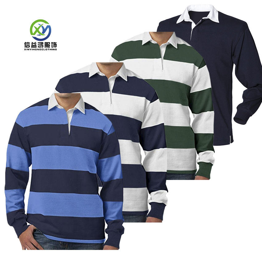 Custom Long sleeve heavy cotton rugby clothing Classical rugby polo shirts
