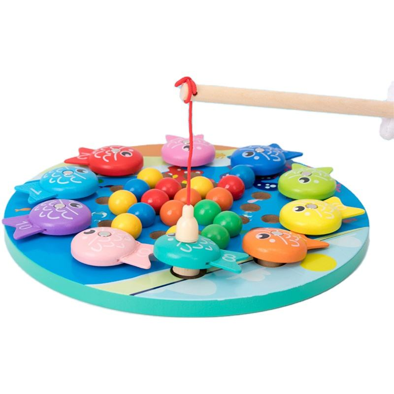 Early Educational Toy Magnetic Fishing Toys And Clip Beads Game Hands Brain Training 2 In 1 Wooden For Kids 2 To 4 Years Unisex