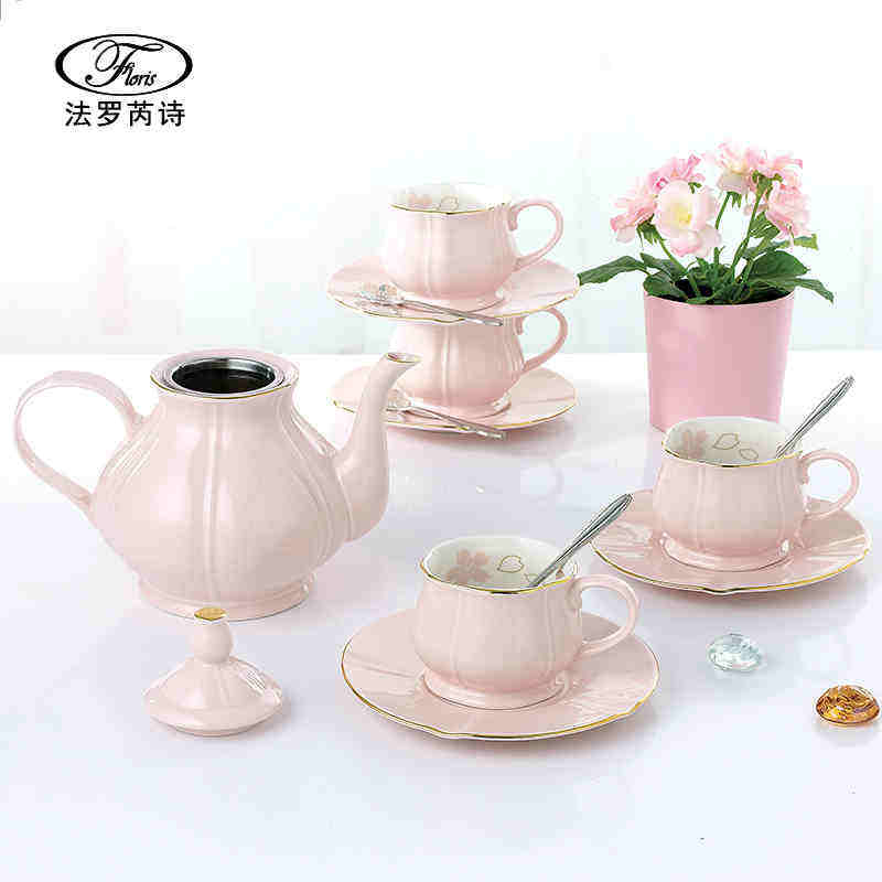 best selling sweet colorful 15 pcs porcelain new bone china tea set teapot and cups