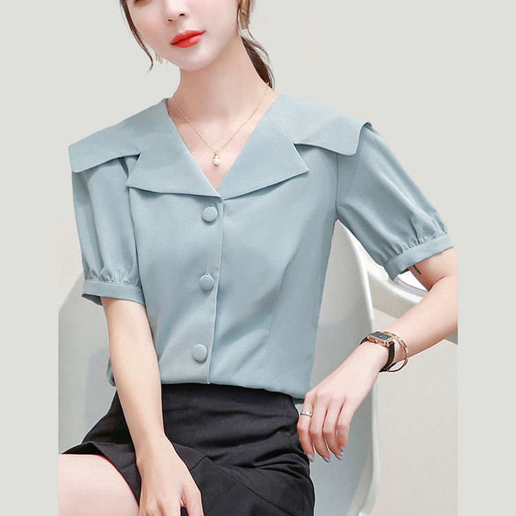 Women Summer Short Sleeve Turn-down Collar Blouse Tops Basis Shirts Elegant Business Formal Ladies' Blouses