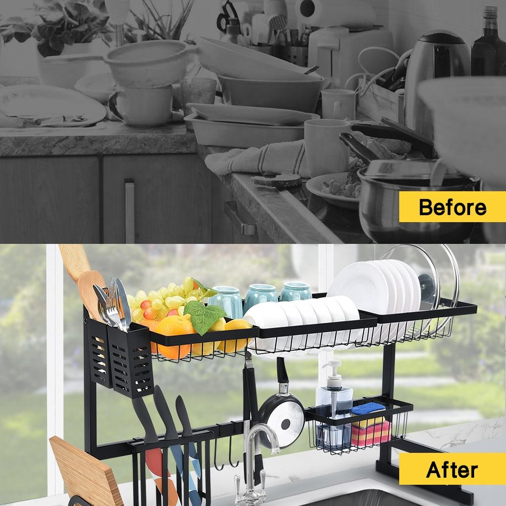 Best Selling 65-85cm large storage kitchen organization over the sink dish drying drainer rack counter holders sink organizer