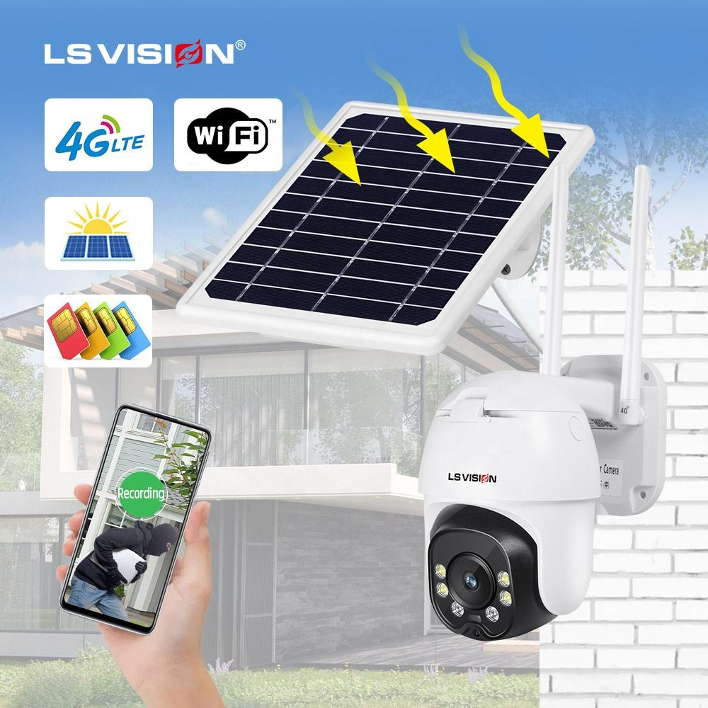 Wireless Solar Ip Camera LS VISION 1080P CCTV IP Camera H.265 Night Vision P2P Remote View PTZ Wifi Wireless Outdoor Waterproof 4G GSM Solar Panel Camera