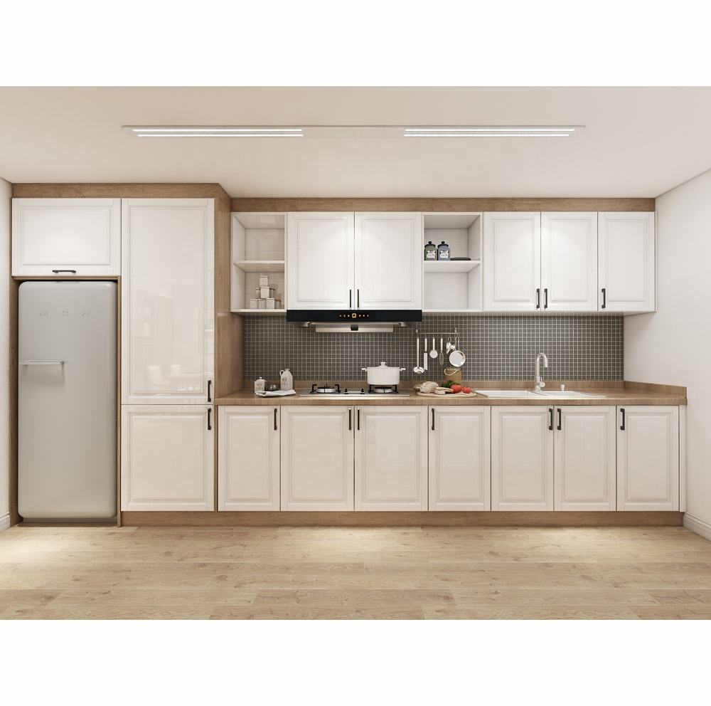 High Gloss Modern Kitchen Cabinet Design with White wood carving door and wood countertop