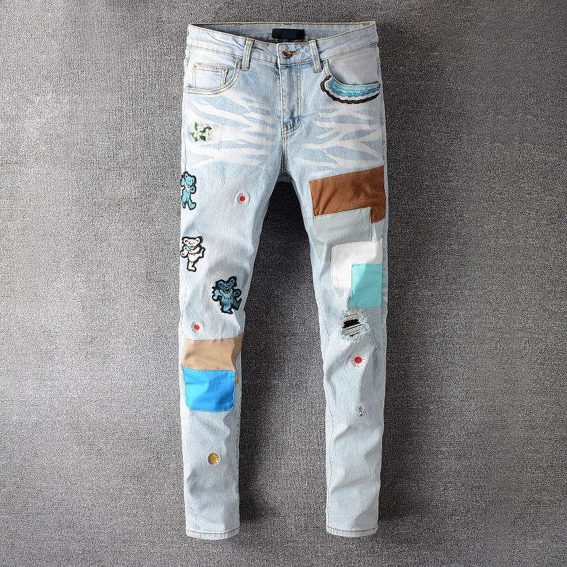Print Patch Denim Pants Mens Ripped All Wholesale Amir Jeans