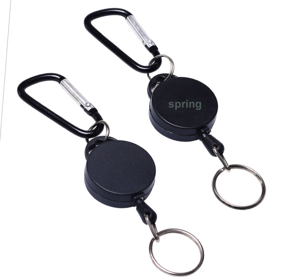 Metal Carabiner Retractable Badge Key Holder Nylon Cord Or Steel Cable ID Badge Reel With Keyring For Keychain