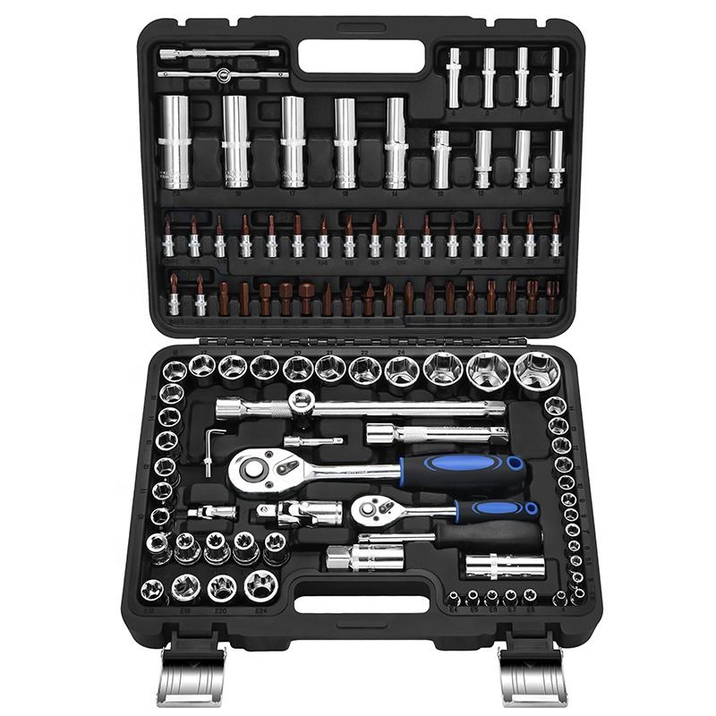 GoodKing 108 Piece 1/2,1/4 Inch Drive Metric 24 Teeth Ratchet Handle Multi-function Wrench Socket Set