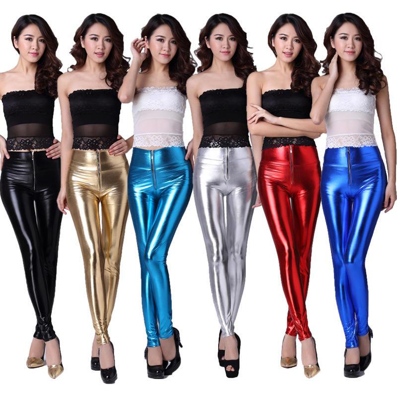 Leather high waist zipper slimming fashion shiny leggings