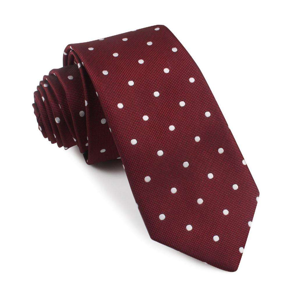 Fashion maroon woven tie with white dot