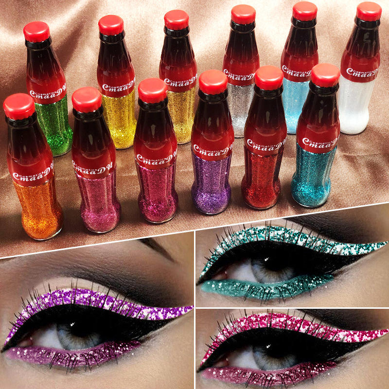 12 Color Colorful Bright Flash Liquid Eyeliner Cosmetics Long Lasting Glitter Eyeliner
