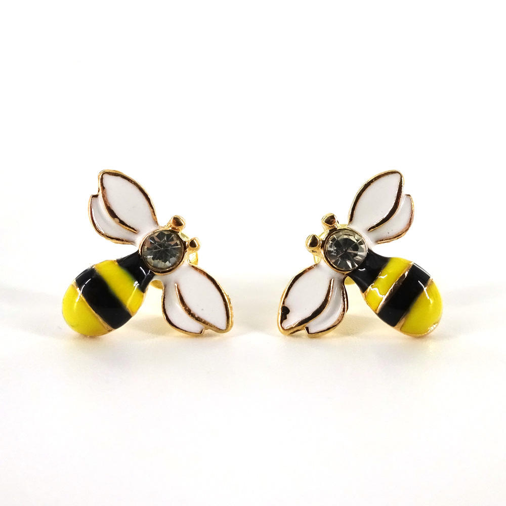 Hot Selling Fancy Gold Plated honey Bee Design Stud Earrings